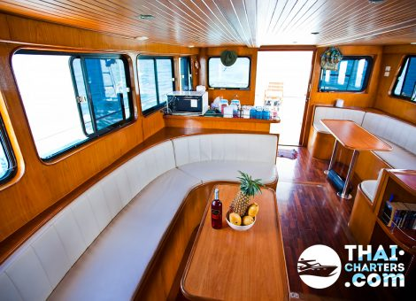 This fishing boat with two powerful engines is equipped with all necessary tools for a comfortable and successful fishing. There is a fish finder gadget, fishing reels (16, 30, 50), GPS, outriggers, downriggers, and a special fishing armchair onboard.
