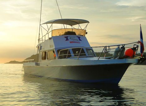 An excellent fishing boat. Perfectly fits to fishing tours, diving or sea trips for one or two days.