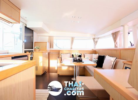 The catamaran is able to accommodate up to 12 people at a time, so you can spend a wonderful time in a cozy and comfortable atmosphere.